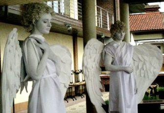 Живые скульптуры ангелы заказать на мероприятие в МСК цена, образ ангела живая статуя заказ на праздник в СПб стоимость