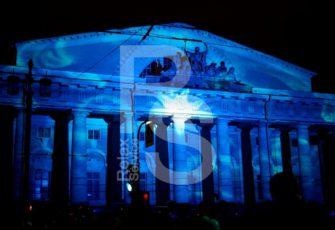 Шоу световых картин с проекцией на биржу васильевского острова